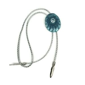 Womens Mens Bolo Necktie Blue Silver Clay Boho